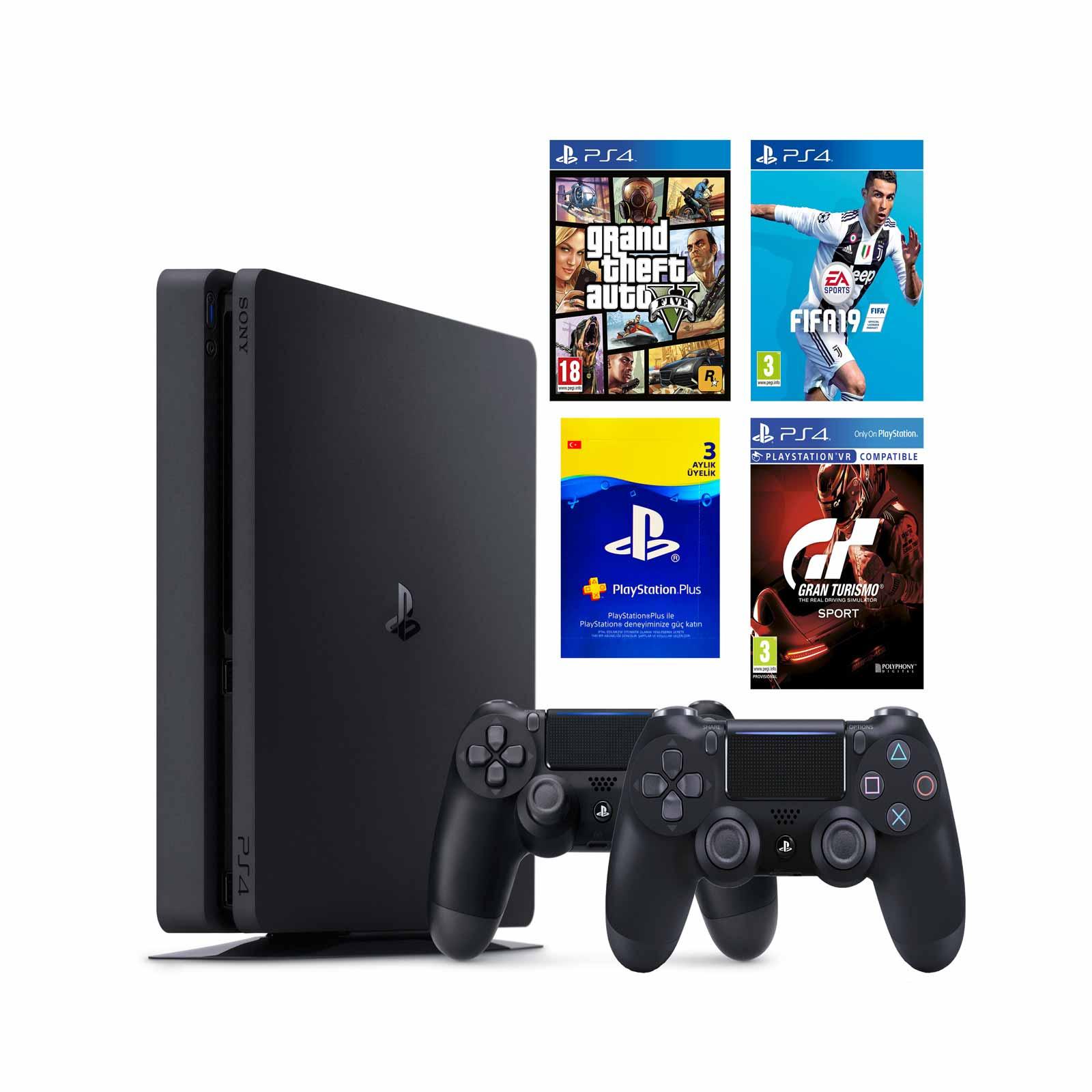 Sony Ps4 500 Gb Slim Oyun Konsolu 2 Kol Gta 5 Fifa 19 Gran Turismo Psn Kart Yasin Elektronik 0212 513 53 20 Oyun Konsollari Ve Aksesuarlari